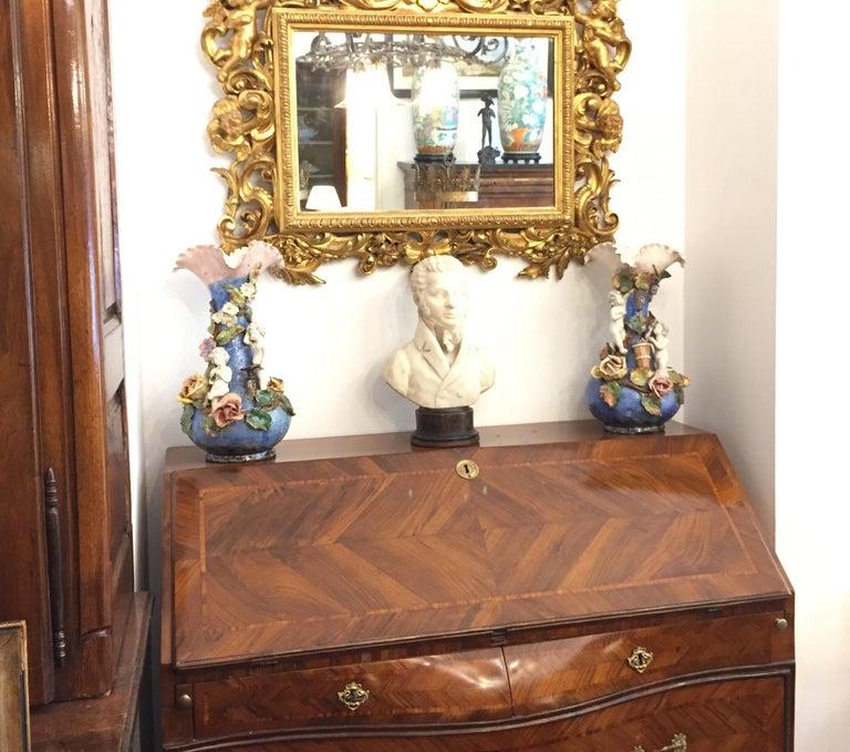 18th Century Louis XV Walnut Bureau Italian Genoese Drop-Front Desk For Sale 13