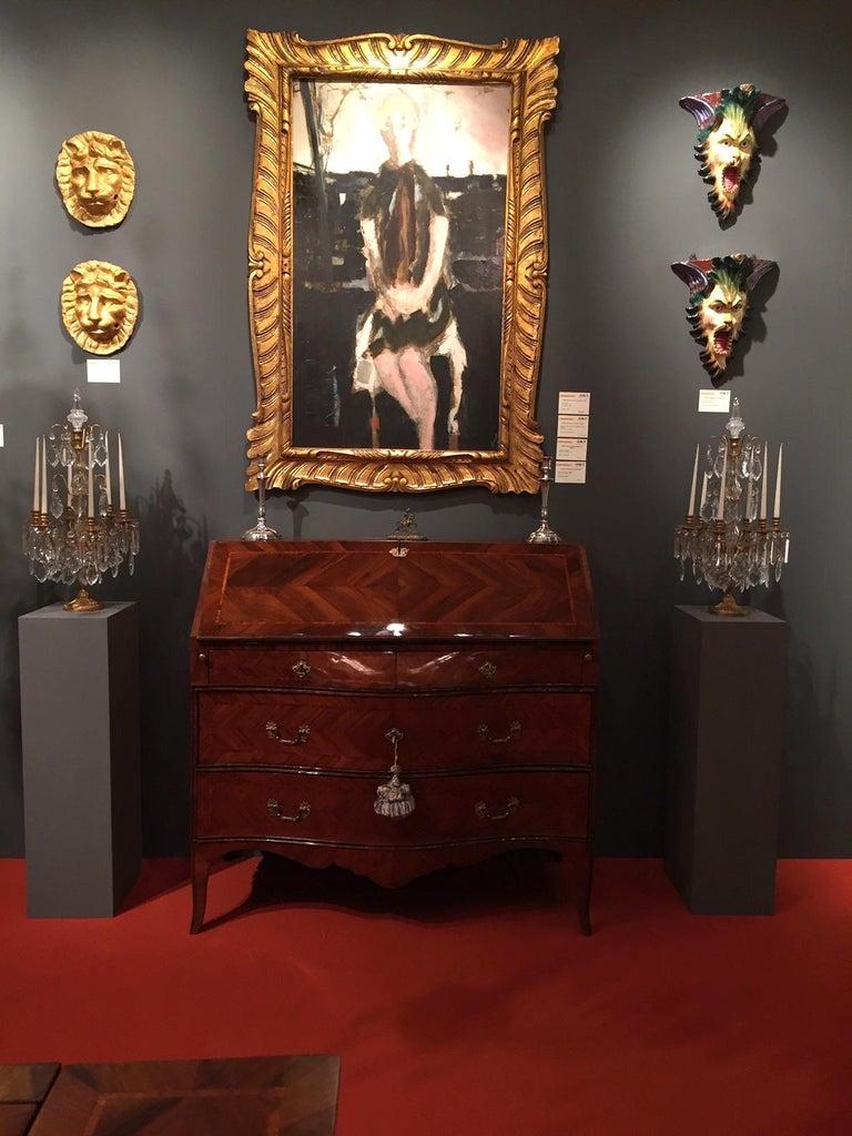 18th Century Louis XV Walnut Bureau Italian Genoese Drop-Front Desk For Sale 14