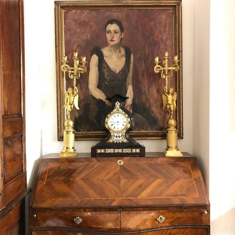 18th Century Louis XV Walnut Bureau Italian Genoese Drop-Front Desk In Good Condition For Sale In Milan, IT