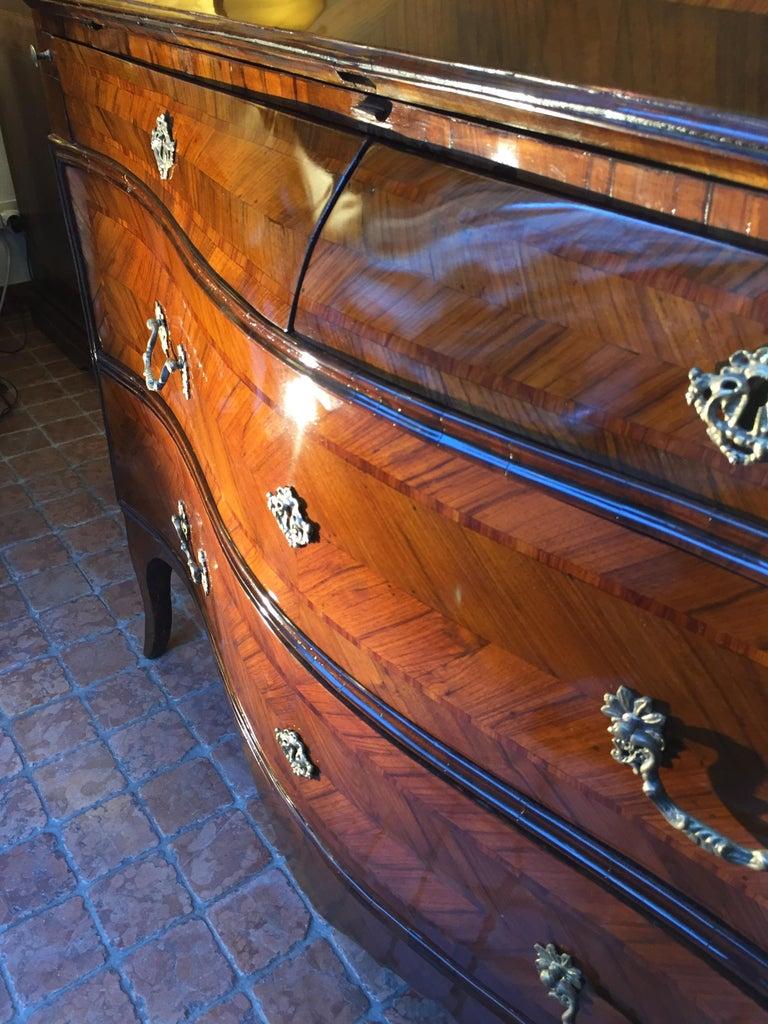 18th Century Louis XV Walnut Bureau Italian Genoese Drop-Front Desk For Sale 1