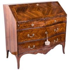 18th Century Louis XV Walnut Bureau Italian Genoese Drop-Front Desk
