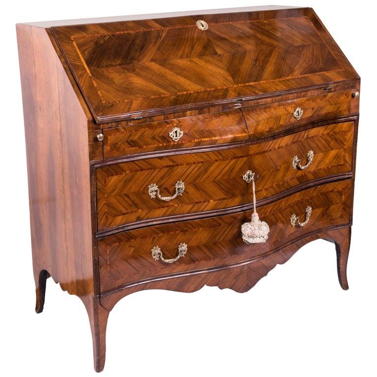 18th Century Louis XV Walnut Bureau Italian Genoese Drop-Front Desk For Sale