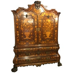 18th Century Louis XV Walnut Inlaid Ducth Trumeau Armoires