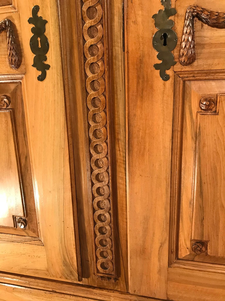 Hand-Carved 18th Century Louis XVI Armoire Carved Walnut, South Germany, 1780 For Sale
