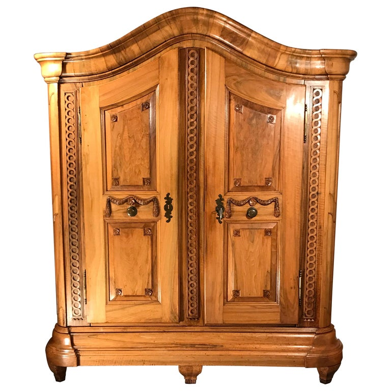 18th Century Louis XVI Armoire Carved Walnut, South Germany, 1780 For Sale