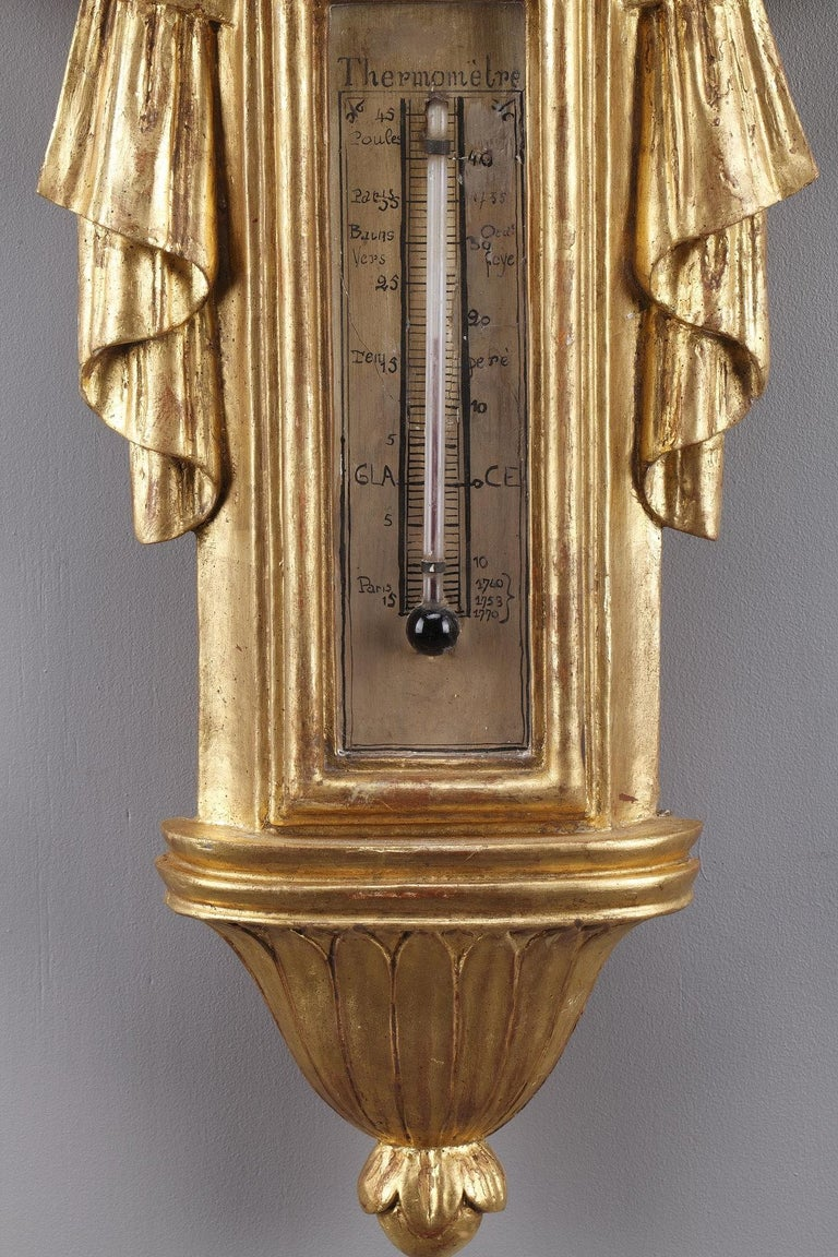 Giltwood 18th Century Louis XVI Barometer and Thermometer For Sale