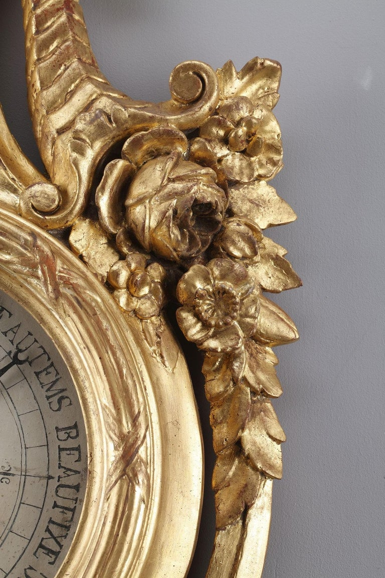 18th Century Louis XVI Barometer and Thermometer For Sale 3