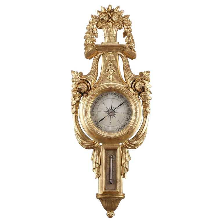 18th Century Louis XVI Barometer and Thermometer For Sale