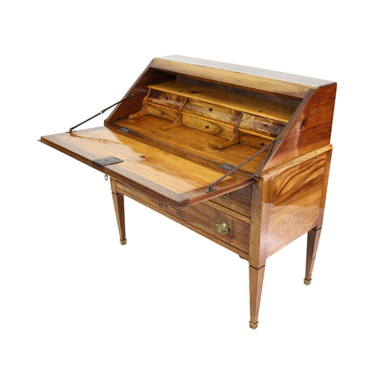 French 18th Century Louis XVI Baroque Walnut Fall Front Desk / Secretaire For Sale