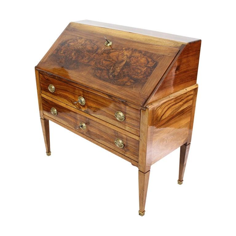 18th Century Louis XVI Baroque Walnut Fall Front Desk / Secretaire For Sale 1