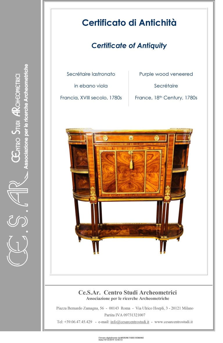 Precious French Secretaire, Louis XVI era, purple ebony- bois de rose veneer, made by RVLC, Roger Vandercruse dit Lacroix (19 November 1727 - 19 May 1799). We are facing a piece of furniture of incredible beauty and rare workmanship, like all the