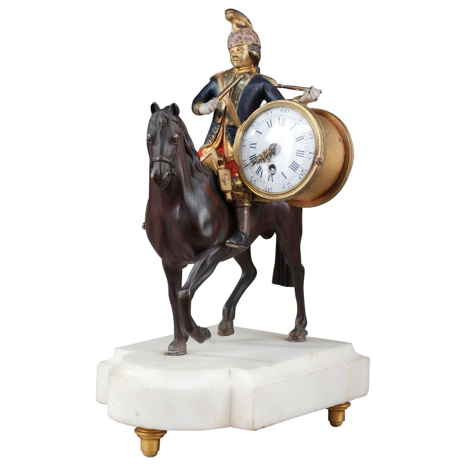 18th Century Louis XVI Clock Soldier on Horseback