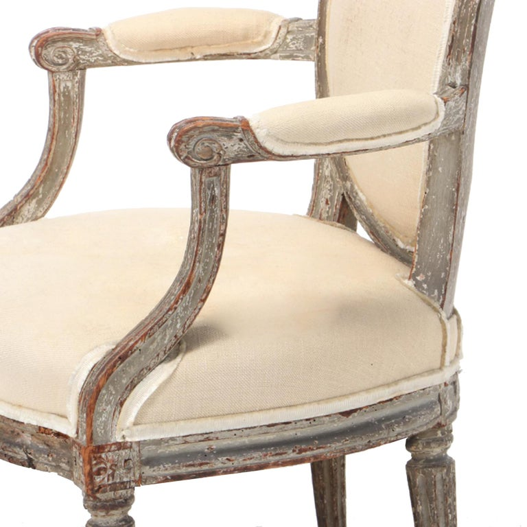 Wood 18th Century French Louis XVI Fauteuil For Sale
