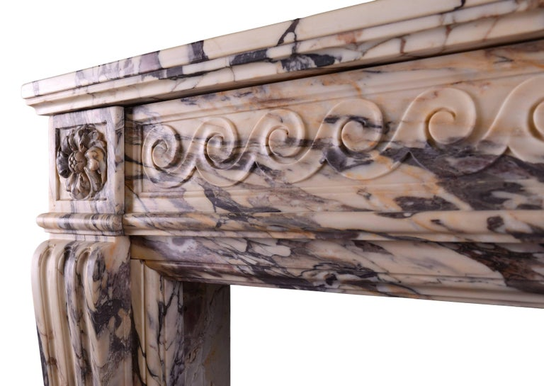 18th Century and Earlier 18th Century Louis XVI Fireplace in Breccia Violette Marble For Sale