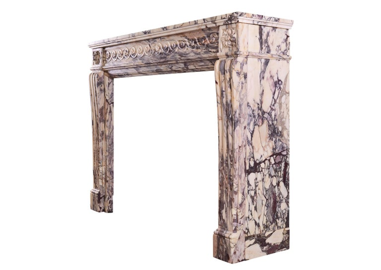 18th Century Louis XVI Fireplace in Breccia Violette Marble For Sale 1