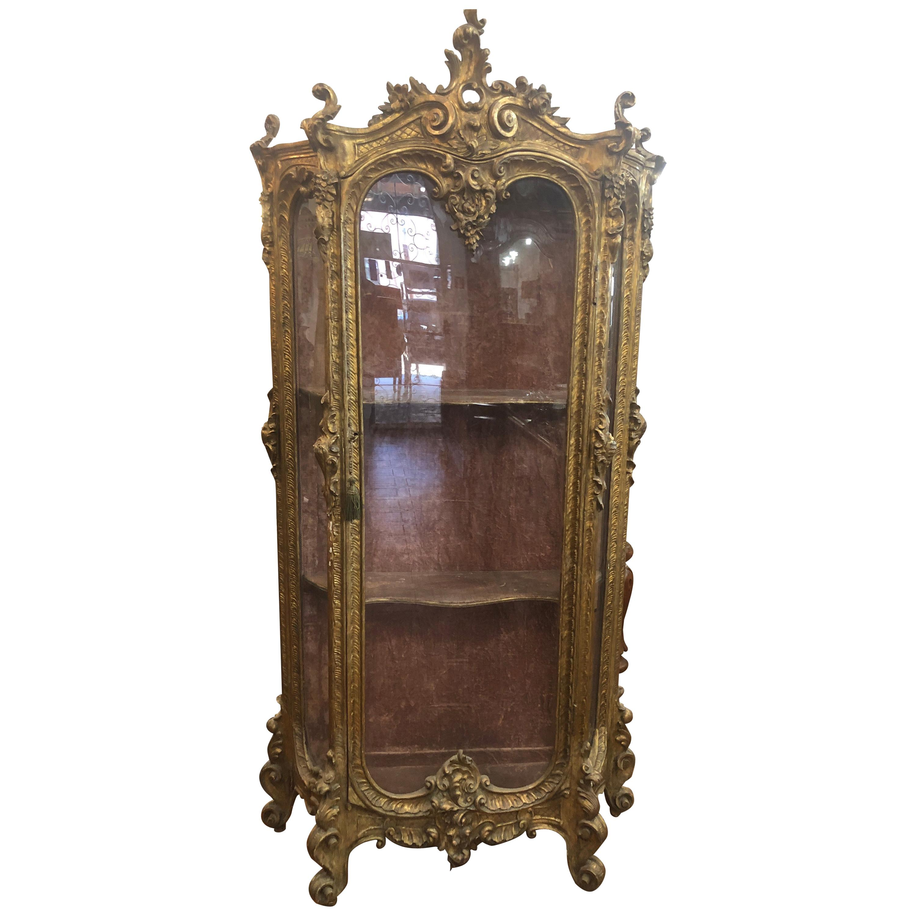 19th Century Louis XVI French Gilt Cabinet Vitrines Carved Gilt Wood 1840s