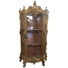 19th Century Louis XVI French Gilt Cabinet Carved Wood, 1840s