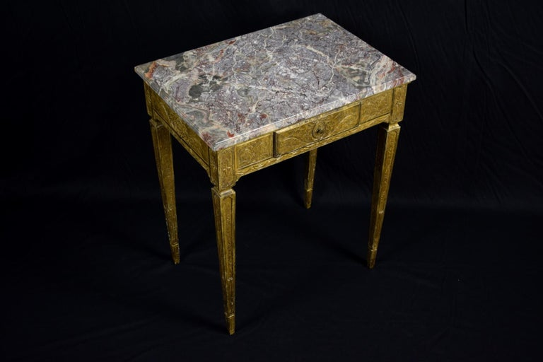 18th Century Louis XVI Giltwood Center Table In Good Condition For Sale In , IT