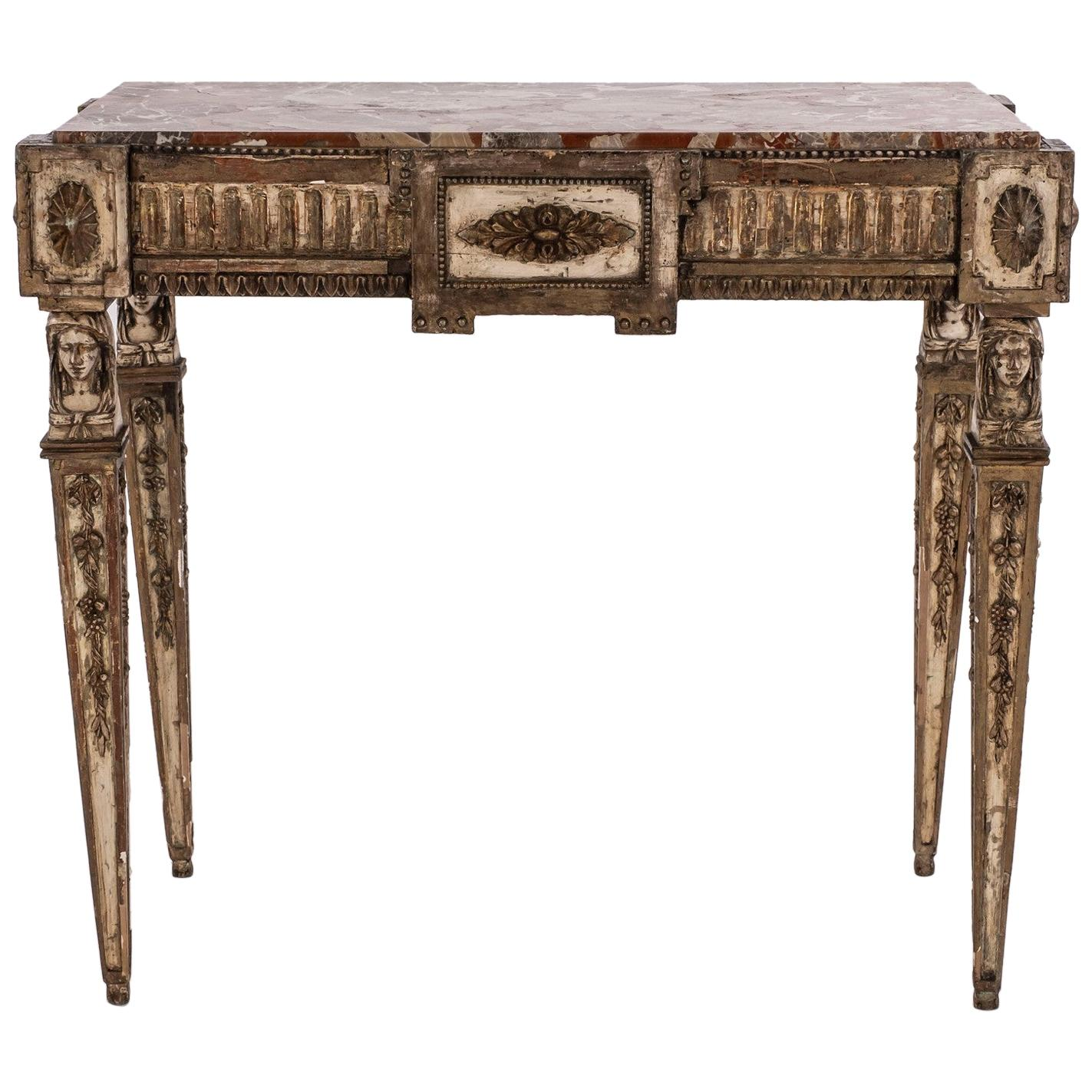 18th Century Louis XVI Giltwood Console with Marble Top