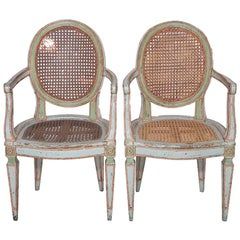 Antique Louis XVI Style Italian Caned Armchairs