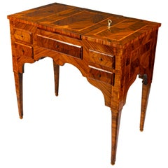 18th Century Louis XVI Italian Marquetry Dressing Table Lift Top Vanity Table