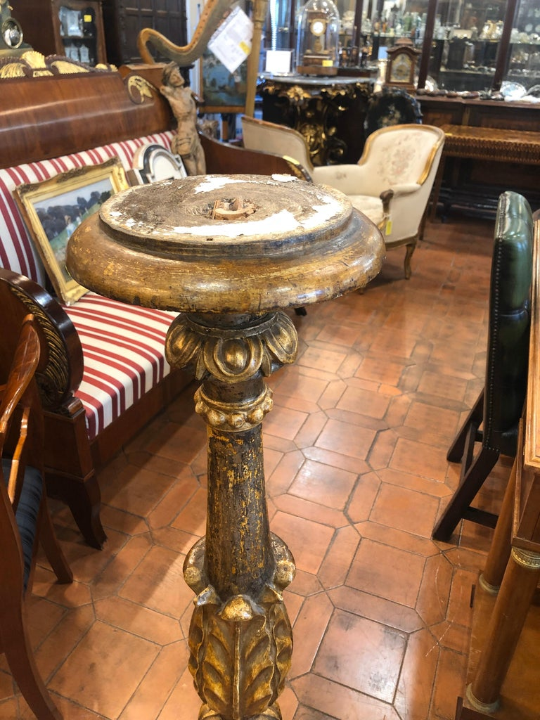 18th Century Louis XVI Italian Wood Gilt Torchères, 1790 In Good Condition For Sale In Roma, RM