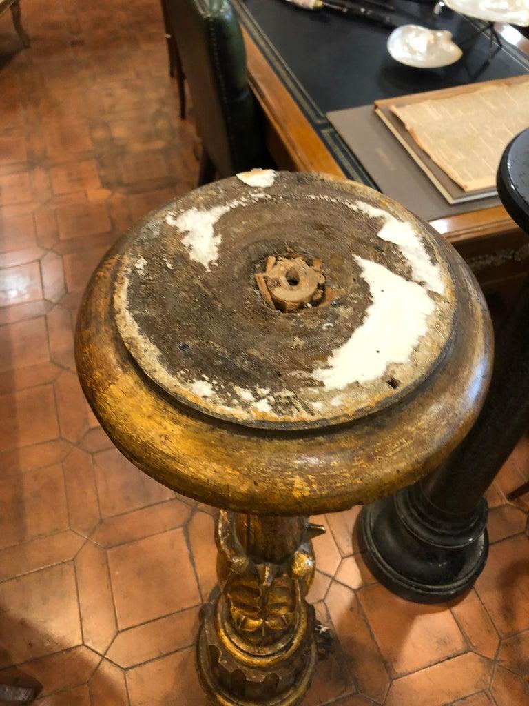 18th Century Louis XVI Italian Wood Gilt Torchères, 1790 For Sale 5