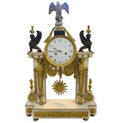 "18th Century Louis XVI Marble Bronze Gilt Mantel Clock ""Vicent A Paris"", 1785"