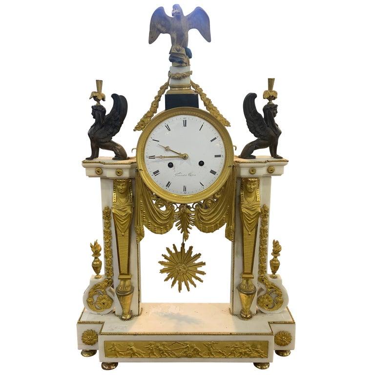 """18th Century Louis XVI Marble Bronze Gilt Mantel Clock """"Vicent A Paris"""", 1785"""