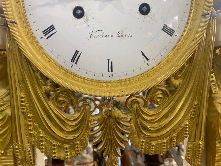 Late 18th Century 18th Century Louis XVI Marble Bronze Gilt Mantel Clock
