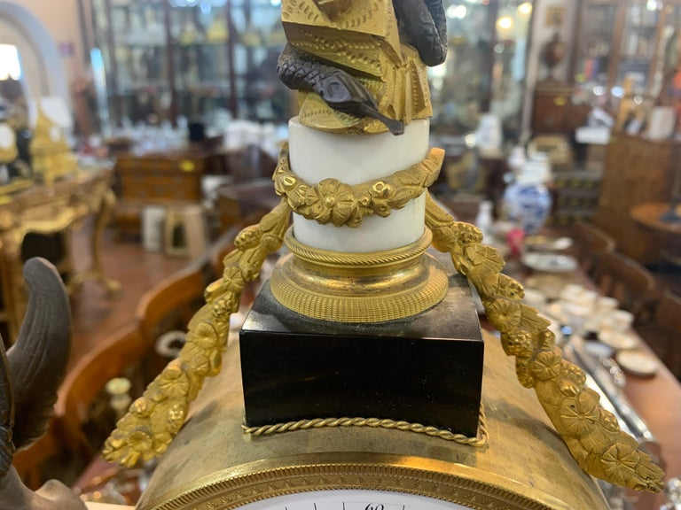 18th Century Louis XVI Marble Bronze Gilt Mantel Clock