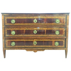 18th Century Louis XVI Marquetry Commode or Chest of Drawers with Tulipwood