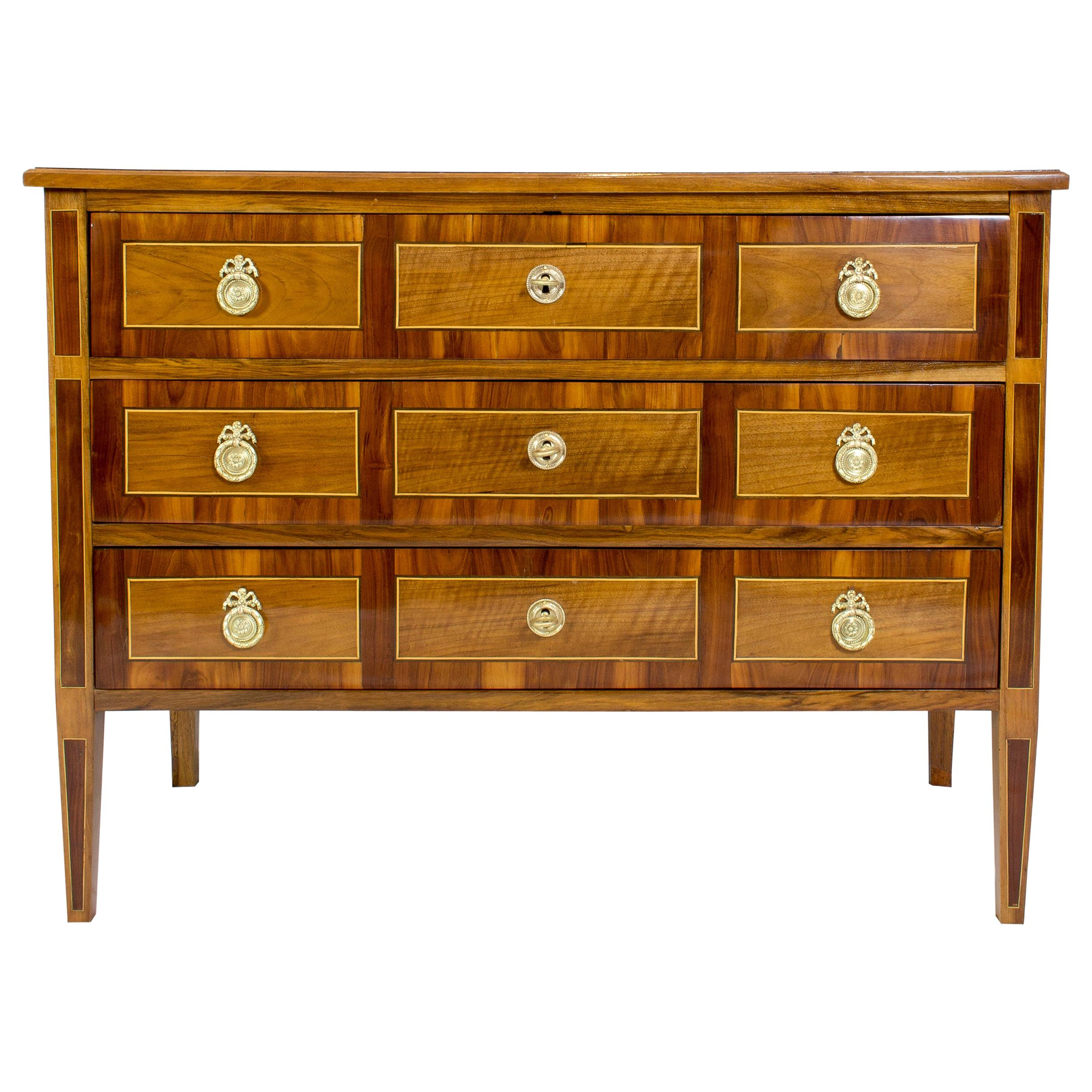 18th Century Louis XVI Marquetry Walnut Commode / Chest of Drawers