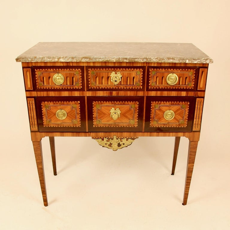 18th century Louis XVI neoclassical Marquetry commode or chest of drawers, so-called