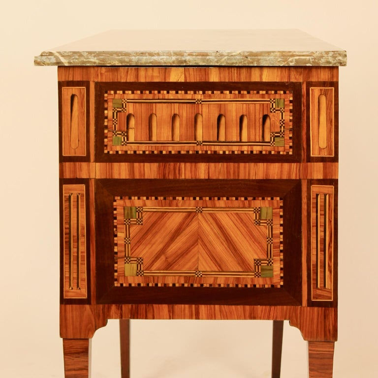Gilt 18th Century Louis XVI Neoclassical Marquetry Commode or Chest of Drawers