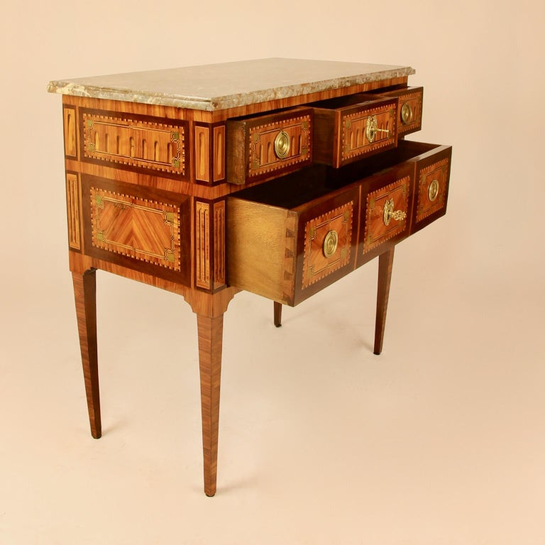 Bronze 18th Century Louis XVI Neoclassical Marquetry Commode or Chest of Drawers
