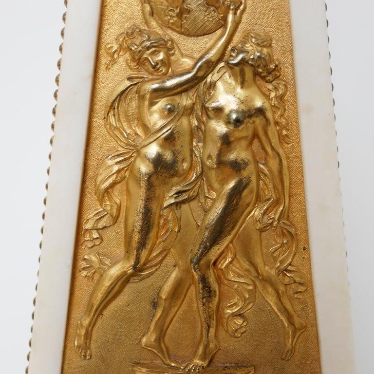 Italian 18th Century Louis XVI Ormolu and Marble Obelisk Mantel Clock For Sale