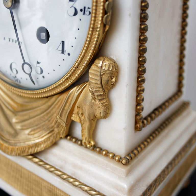 18th Century Louis XVI Ormolu and Marble Obelisk Mantel Clock For Sale 2