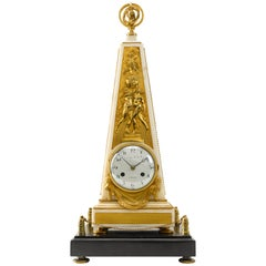 18th Century Louis XVI Ormolu and Marble Obelisk Mantel Clock