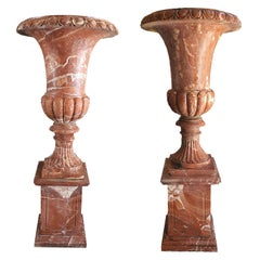 18th Century Louis XVI Pair of Marble Vases with Base