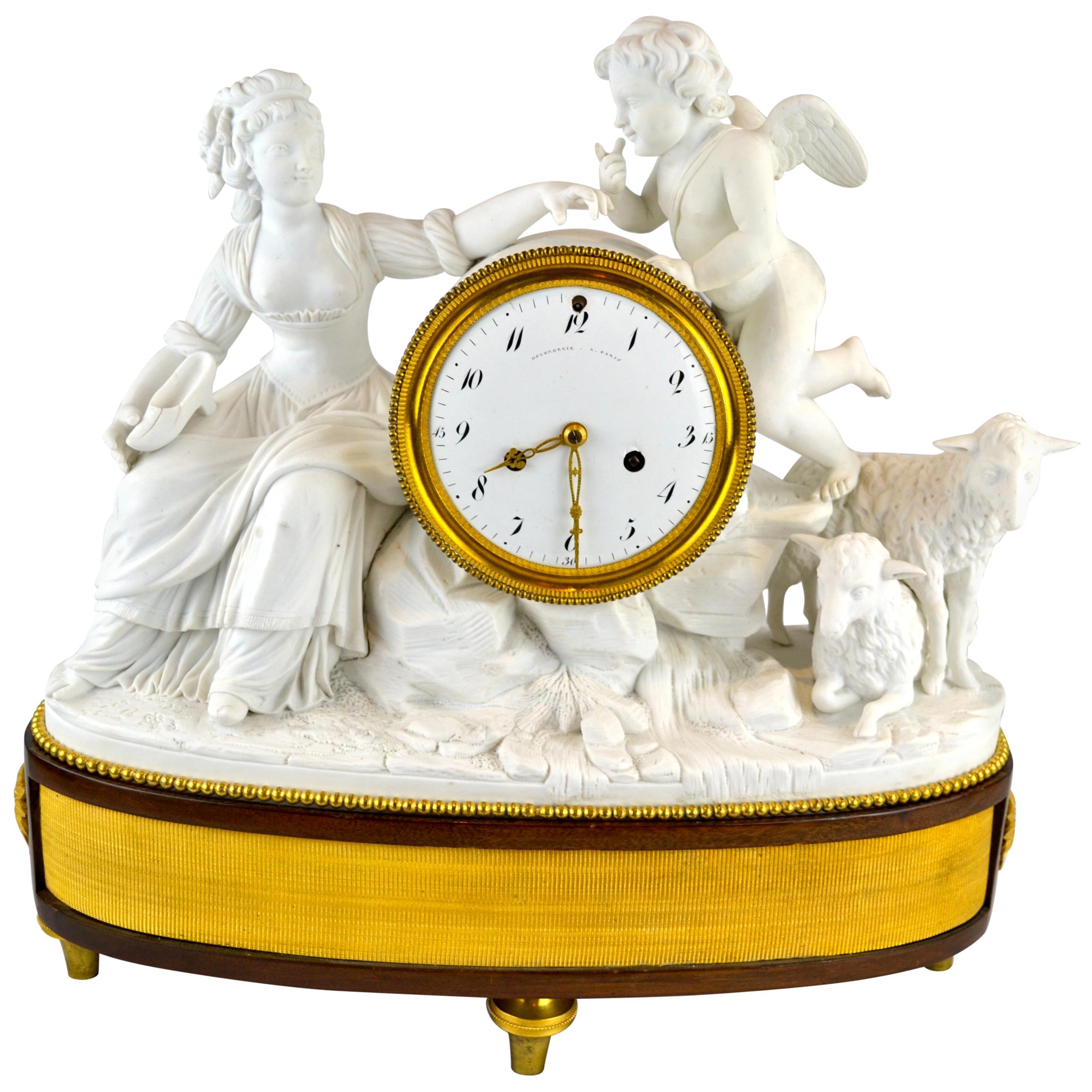 18th Century Louis XVI Period Figurative Bisque Clock