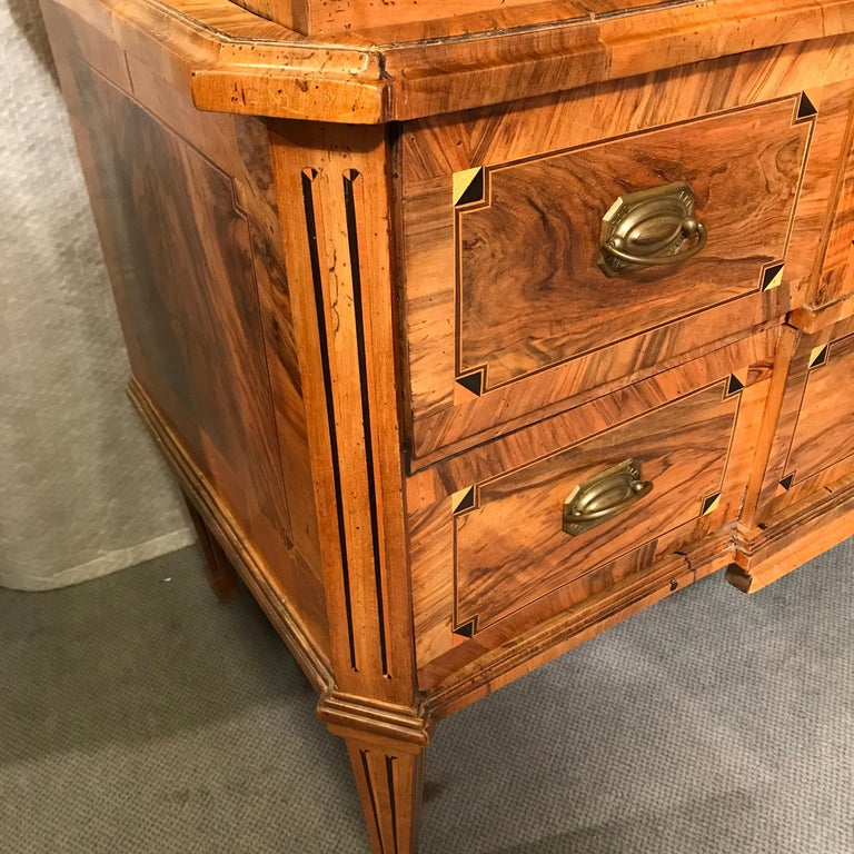 Beautiful Original Louis XVI secretaire, provincial France 1780, walnut, plum wood and satinwood veneer and marquetry. Rectangular body with three drawers. Foldable desk with six drawers and two visible and one hidden compartment.  The secretaire is