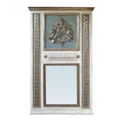 18th Century Louis XVI Style Painted and Silver Gilt Trumeau Mirror