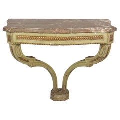 18th Century Louis XVI Style Painted Demilune Console