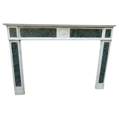 18th Century Louis XVI Style White and Green Marble Fireplace Mantel