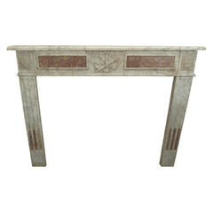 18th Century Louis XVI Style White and Red Marble Fireplace Mantel