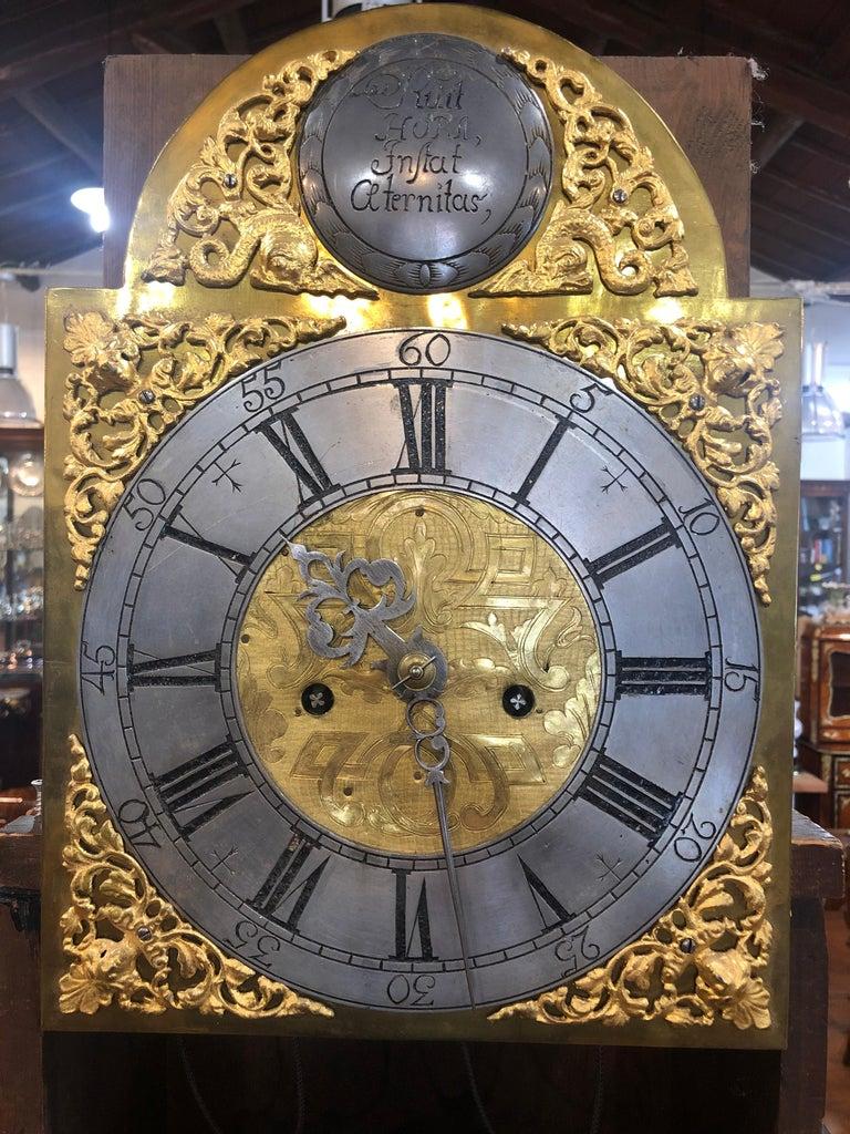 Swedish 18th Century Louis XVI Sweden Elm Granfather Clock, 1790s For Sale