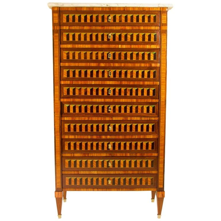 18th Century Louis XVI Trompe l'Oeil Marquetry Desk or Secrétaire Chiffonière For Sale