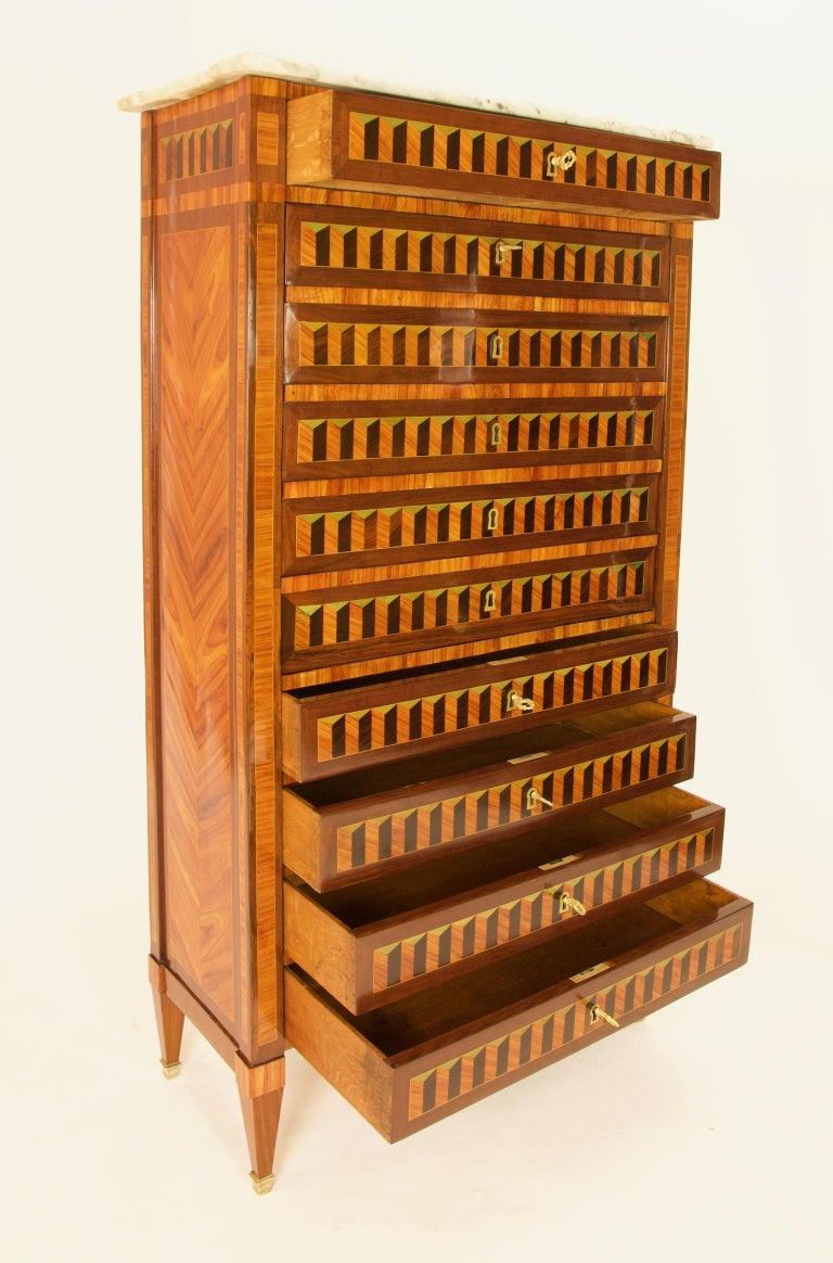 18th Century Louis XVI Trompe l'Oeil Marquetry Desk or Secrétaire Chiffonière For Sale 3