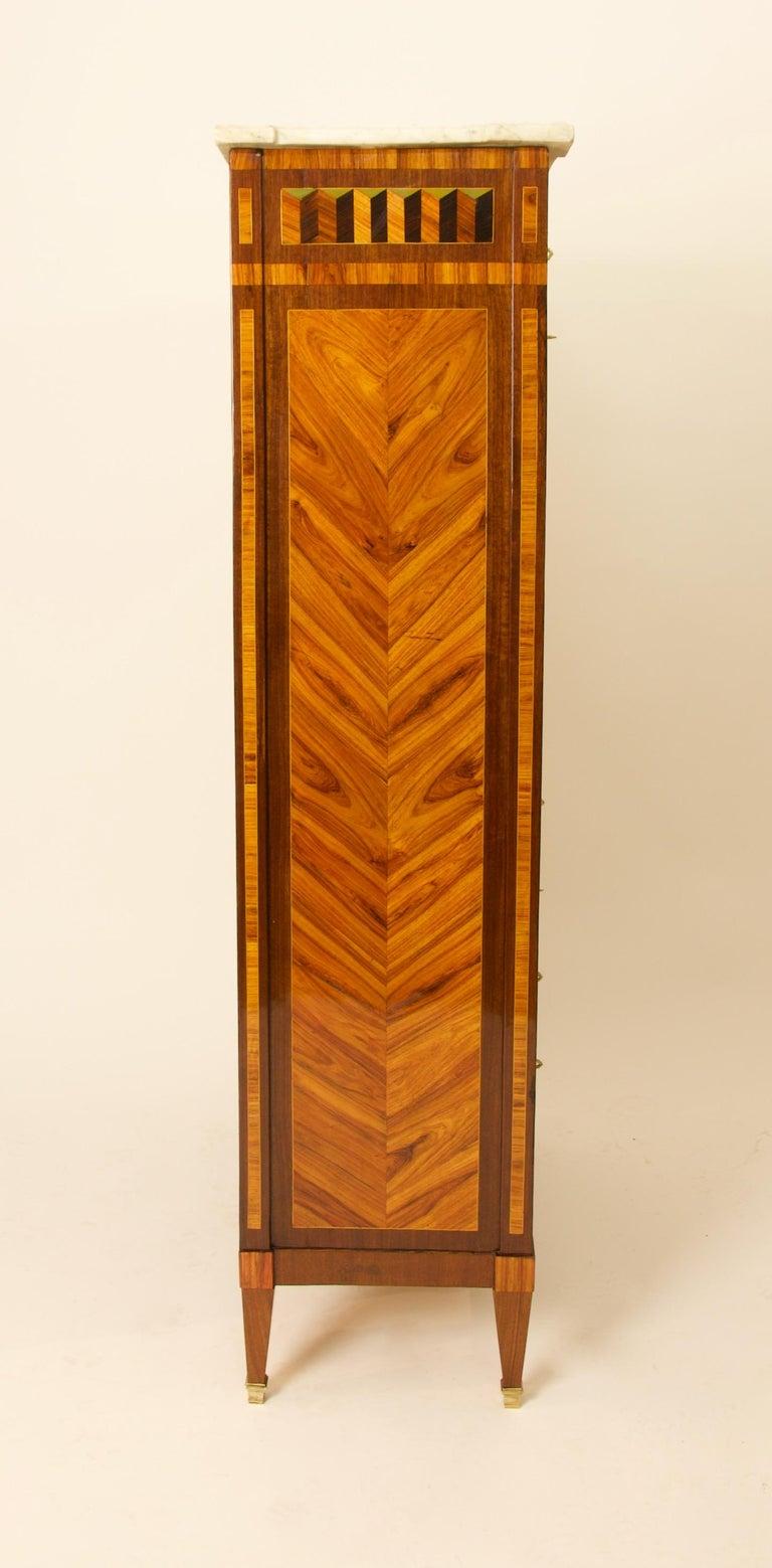 18th Century Louis XVI Trompe l'Oeil Marquetry Desk or Secrétaire Chiffonière For Sale 4